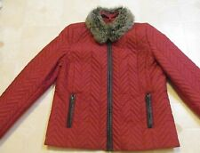 Quilted Coat Jacket Removable Faux Fur Collar Dark Red Fall Winter Dress SIZE XL