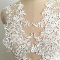 1 Pair Lace Applique Trim Embroidery Sewing Motif DIY Wedding Bridal Crafts IC1U