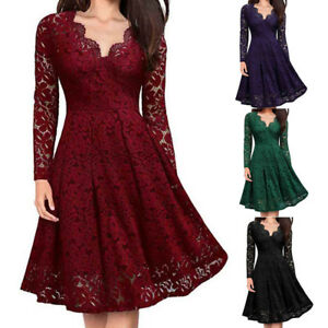 Women V-Neck Sexy Off Shoulder Lace Formal Evening Party Dress Long Sleeve Dress