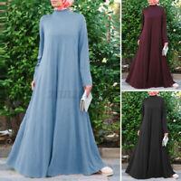 ZANZEA 8-24 Women A-Line Full Length Long Sleeve Maxi Kaftan Abaya Muslim Dress