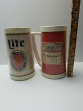 2 Thermo Serv Budweiser and Lite Beer Mugs Vintage b43