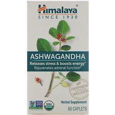 Himalaya Ashwagandha 60 Caplets Dairy-Free, Gluten-Free, GMP Quality Assured,