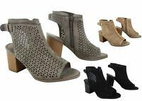 NEW Women's  Side Zipper Slingback Open Toe Chunky Heel Sandal Shoes 5.5 - 11