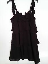 MNG Mango Women's Little Black Ruffled Tiered Cocktail Dress Size 8