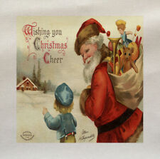 Santa Father Christmas Vintage Fabric Cotton Upholstery Quilting Custom Craft