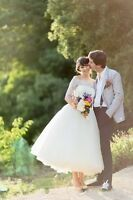 2019 Vintage Off Shoulder Lace Half Sleeve Wedding Dress Tea Length Bridal Gown