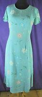 LAURA ASHLEY Vintage Tea Dress UK8/EU34 S Turquoise Blue 1980s 1990s Floral Midi
