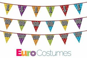 Holographic Number Bunting Ages 1-100 Birthday Anniversary Party Decoration 8m