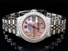 Pre-Owned Ladies Rolex Datejust Oyster Band Diamond Watch with Pink Dial 2.5 Ct