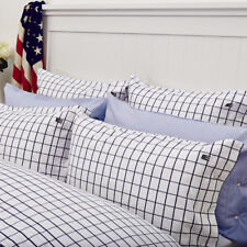 LEXINGTON ICONS AMERICAN PINPOINT OXFORD SINGLE SIZE CHECK DUVET COVER IN NAVY