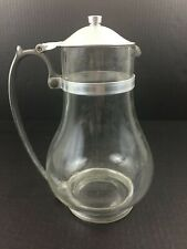 """New listing Vintage Glass Coffee Pot Warmer Pitcher w/ Metal Trim Lid Lidded approx 10"""" Tall"""
