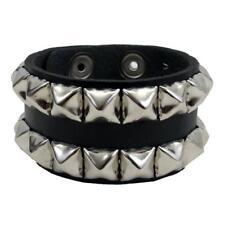 Black Cuff Genuine Leather Unisex Pyramid Silver Studs Bracelet Wristband USA
