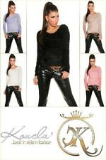 Bauchfreie Damen-Pullover & -Strickware ohne Muster mit S