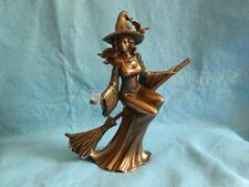 Witch Riding Broom Figure/Bronze/Wicca Pagan/Decorative/Goth
