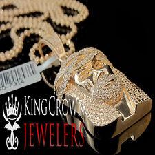 Jesus Face Piece Pendant Charm +Chain Real Genuine Diamond Rose Gold Finish Mini