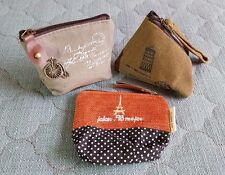 Set of 3 Vintage Retro Coin Purse Change Small Wallet Card Case Handbag Canvas
