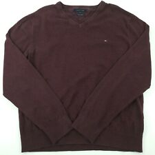 Tommy Hilfiger Jumper XL Chest 45'' Red Cotton Cashmere Pullover Sweater Knit