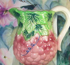 """Very Vintage!  GRAPE CERAMIC PITCHER     Full Size: 6-3/4"""" Tall x 7"""" Wide"""