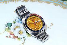 Rara Vintage Seiko 6139-6002 AUTOMÁTICO CON CRONÓGRAFO DIAL AMARILLO posible Reloj S.s