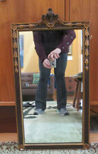 Antique Victorian Gold Guilt Ornate Carved Wood Frame Wall Hanging Mirror