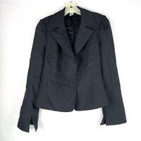 Diane Von Furstenberg DVF Womens Blazer Jacket Sz 8 Gray Wool Blend Snap Button