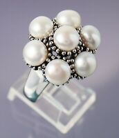 Size 11 Honora Bead & White Pearl Cluster Sterling Silver Ring 10.5g