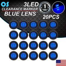 """20X Mini Blue Light 12V Truck 3 LED Bullet Round 3/4"""" Mini Side Marker Trailer"""