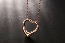 Women Delicate Love Heart Necklace Rose Gold Stainless Steel Valentines Day Gift