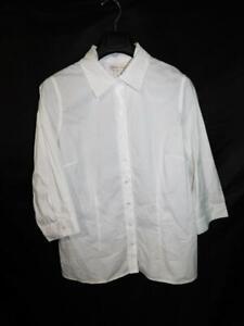 Coldwater Creek XL 16 NWT White Micro Ruffle Shirt Long Sleeve Day Evening Top