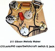 Gibson Melody Maker Harness CTS Pots,Russian PIO Caps ,Switchcraft Switch & Jack