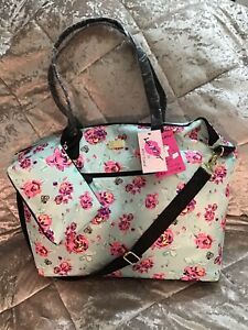 Betsey Johnson Satchel Insulated Lunch Tote Handbag Blush Pink Red Floral
