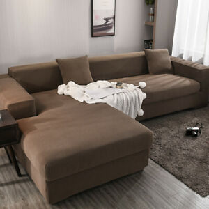 1/2/3/4 Seater Solid Color Stretch Sofa Couch Cover Slipcover Sectional Corner