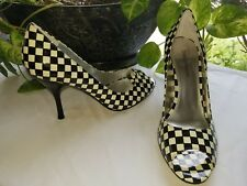 ENZO ANGIOLINI black cream patent leather checkered peeptoe pump sz 9.5M