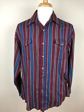 Wrangler Mens Pearl Snap Shirt X-Long Tails Maroon Stripe 16.5 Western Rodeo