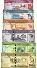 Sri lanka set 20 50 100 500 1000 5000 rupias 2010 same serial # en álbum UNC