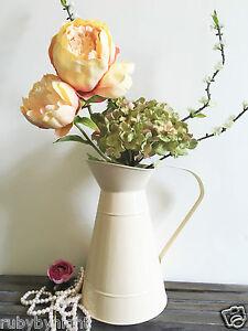 Cream Metal Zinc Jug Vintage Shabby Chic Pitcher Rustic Wedding Flower Vase Lge