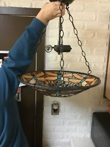 Tiffany Inverted Pendant Light with Dragonflies 19""
