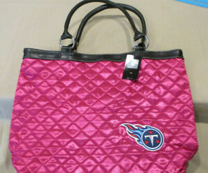 NWT! NFL FOOTBALL TENNESSEE TITANS  PINK QUILTED TOTE BAG!