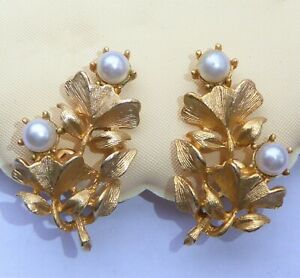 Vintage Clip On Earrings Floral Leaf Spray Brushed Gold Metal with Faux Pearls