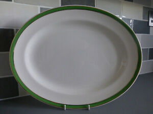 """Vintage Queens Green Solian Ware - Large Oval Platter / Serving Plate 14"""""""