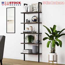 5-Tier Bookcase Leaning Wall Shelf Ladder Storage Display Bookshelf Furniture US