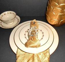 Lenox Romance Rosebuds Dinner Set Fine China  Beige Gold Floral Trim 20 Pieces