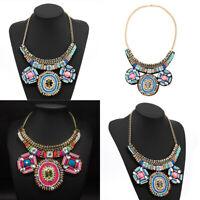 Fashion Crystal Beads Pendant Bib Choker Chunky Chain Statement Necklace Jewelry