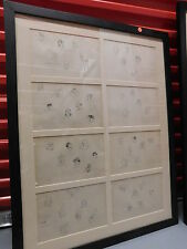 Collectio EIGHT framed pen and ink drawings of medieval costumes-- in one frame