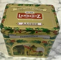 Vintage Christmas Lambertz Frauenthor German Musical Cookie Tin Box Silent Night