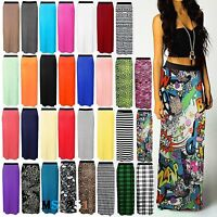 NEW LADIES WOMENS JERSEY MAXI SKIRT GYPSY BODYCON SUMMER DRESS SIZE 8-26