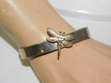 Dragonfly Insect  Silver Cuff Bangle Bracelet CZ Rhinestone 8h 38