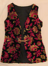 vintage 60's Hippie velvet raised floral brocade print glam long vest M