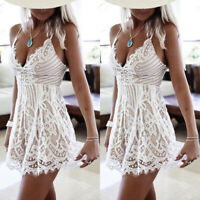 Womens Lace Party Cocktail Mini Dress Ladies Summer Beach Boho Short Sundress