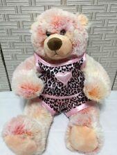 Build a Bear Pink Plush Teddy Bear Pink Black Satin Leopard Outfit Heart 16 Cute